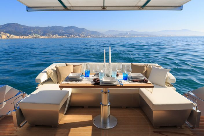 Set lunch table on luxury yacht
