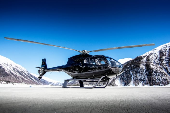 Executive helicopter parked in the snow