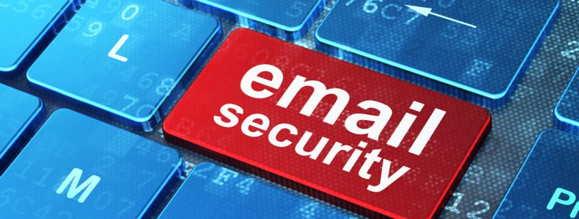 Email Security on computer keyboard background